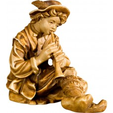 Herdsman sitting with flute 27 cm Serie Stained+tones maple