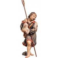 Herdsman with lamb and shovel (without base) 12 cm Serie Colored maple