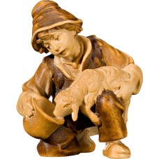 Boy with lamb at the well 27 cm Serie Stained+tones maple