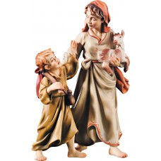 Herdswoman with kid and goat kid 12 cm Serie Colored maple