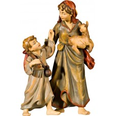 Herdswoman with kid and goat kid 40 cm Serie Real Gold new
