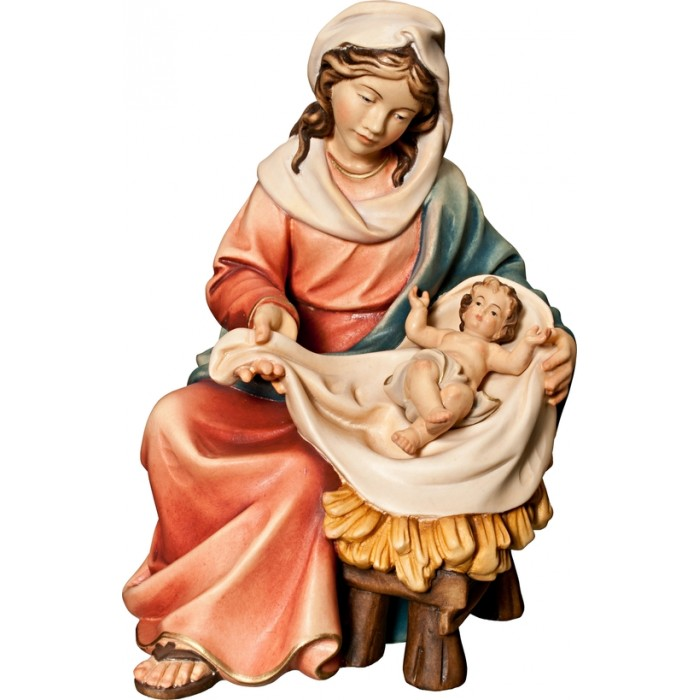 Mary sitting with Jesus Child 10 cm Serie Colored maple