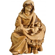 Mary sitting with Jesus Child 12 cm Serie Stained+tones maple