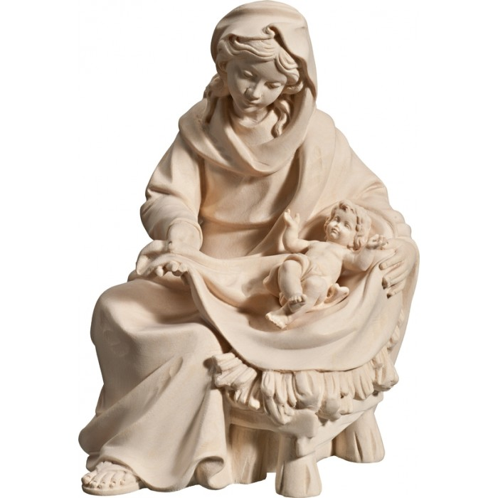 Mary sitting with Jesus Child 40 cm Serie Natural maple