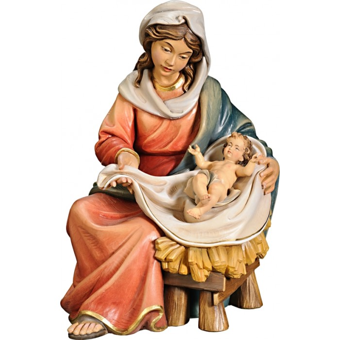 Mary sitting with Jesus Child 75 cm Serie Colored linden