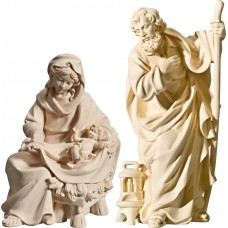 Holy Family Mary sitting with Jesus Child 10 cm Serie Natural maple
