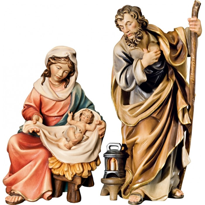 Holy Family Mary sitting with Jesus Child 10 cm Serie Colored maple