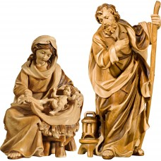 Holy Family Mary sitting with Jesus Child 27 cm Serie Stained+tones maple