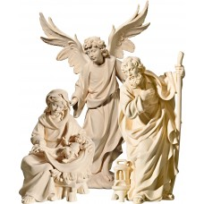 Holy Family Mary sitting with Annunciation Angel on cloude 10 cm Serie Natural maple