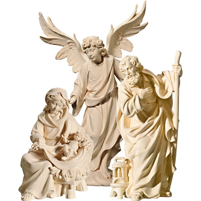 Holy Family Mary sitting with Annunciation Angel on cloude 40 cm Serie Natural maple