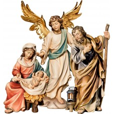 Holy Family Mary sitting with Annunciation Angel on cloude 18 cm Serie Colored maple
