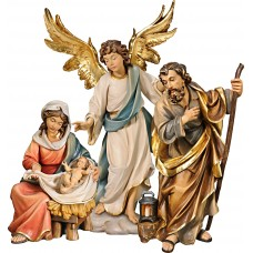 Holy Family Mary sitting with Annunciation Angel on cloude 50 cm Serie Colored linden