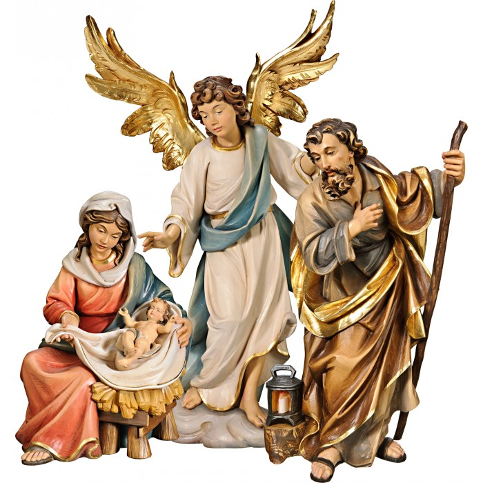 Holy Family Mary sitting with Annunciation Angel on cloude 75 cm Serie Colored linden
